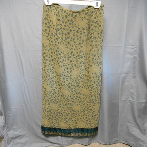 NWT Sigrid Olsen Sport green floral long skirt 6